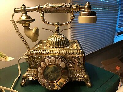 Vintage French Victorian Style Rotary Cradle Princess Tower Phone Metal Brass