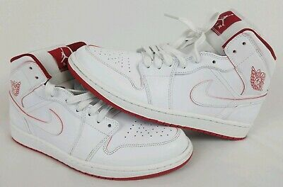 competitive price d78c1 92b19 Men s Nike Air Jordan 1 Retro Mid White  Gym Red Sneakers 554724 103 Size 11