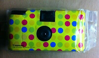 One Disposable 12 Exposure Camera New Factory Sealed Polka Dots Spots Design.