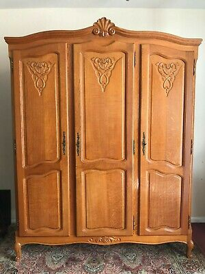 Outstanding Quality French Carved Golden Oak Three Door Armoire/Wardrobe