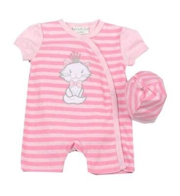 NEW Baby Girls Pink Kitten Romper & Hat Set Age NB 0 3 6 Months Summer Outfit
