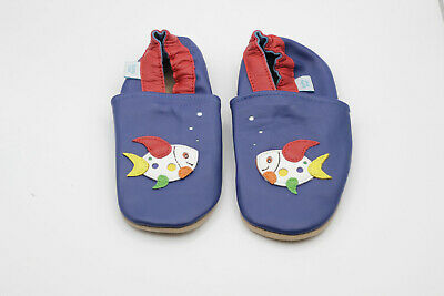 *SECONDS* Dotty Fish Boys Soft Leather Baby and Toddler Shoes 18-24 Months