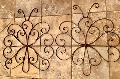 2 Antique Architectural Wrought Iron Porch Rail Butterfly Panels Sculptures