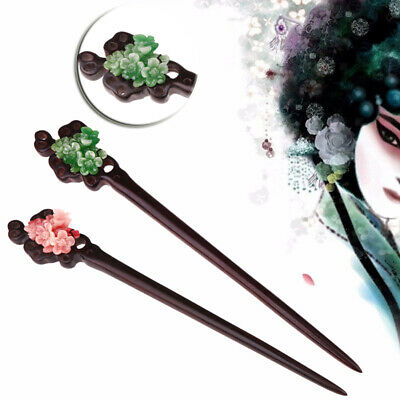 Vintage Ethnic Flower Blue Red Ebony Wooden Hair Classic Hairpin Hand-carved