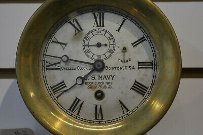 EARLY WWI CHELSEA BOSTON USA BRASS SHIPS NAVY DECK  CLOCK   RARE Estate Fresh