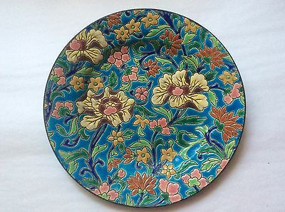 Plate Antique French Longwy Cloisonne Enameled Majolica Plate c1920, fm1045