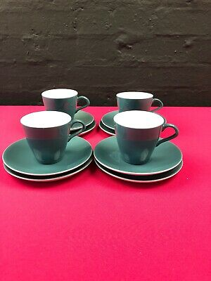 4 x Poole Twintone Blue Moon Coffee Trios Cups Saucers and Side Plates