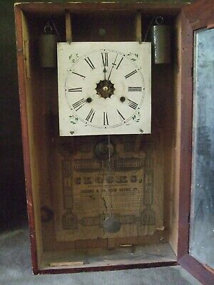 19th Century Jerome & Co New Haven Conneticut Large Wall Clock