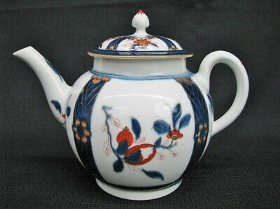 Worcester Late 18th Century Teapot With Imari Inspired Motif; Near Mint C. 1780