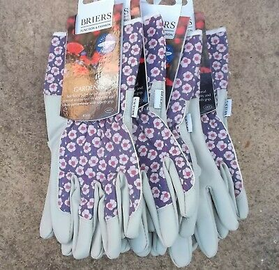 BRIERS LADIES FLORAL SYNTHETIC LONGER CUFF GARDEN GLOVES 4 x PAIRS