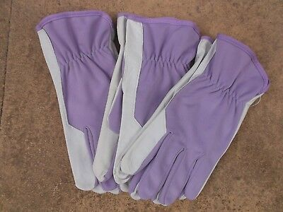 Briers Ladies Soft & Strong Leather Garden Gloves, Medium size 8 x 4 pairs Lilac