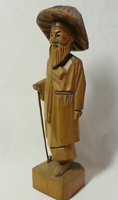 Vintage Wooden Carved Statue Figurine Chinese Asian Man with Staff & Rice Hat