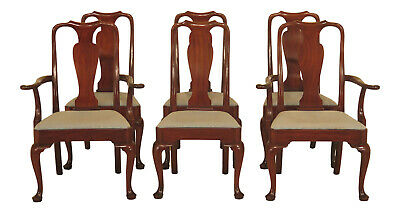 LF47370EC: Set Of 6 KITTINGER Queen Anne Mahogany Dining Room Chairs