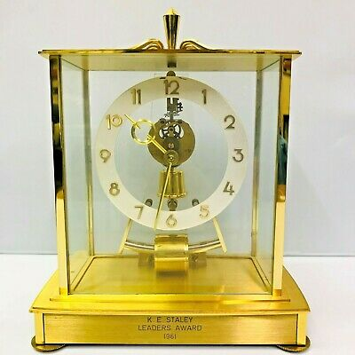 Kieninger Obergfell Kundo Electric Mantel Clock 1961 Gold 6 Jewel Germany