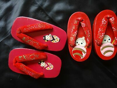 2 PAIR Vintage Japanese Red GETA Wooden Sandals Shoes Toddler Child *exc*