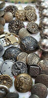 Antique Awesome Lot of Vintage Buttons Rhinestone~ Metals~brass~copper~tin ' +++