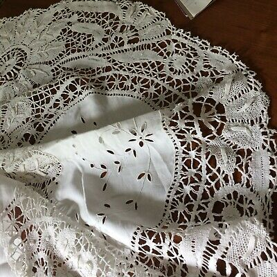 "Antique vtg tablecloth ivory linen embroidery needle lace VICTORIAN 67""rd"
