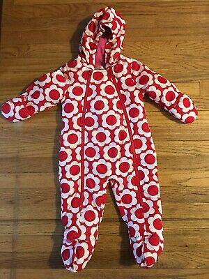 eb41a8e8e Mini Baby Boden Girl 12-18 Months Snowsuit Bunting Red Flowers Pink Fleece