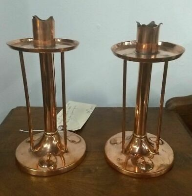 Pair of Copper English Arts & Crafts Candlesticks c. 1900 by Henry Loveridge Co.