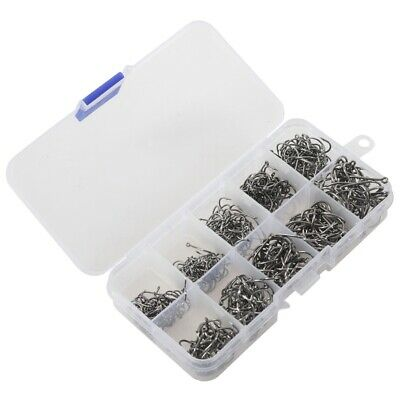 500pcs Fish Jig Hooks with Hole Fishing Tackle Box 10 Sizes Carbon Steel F9C9