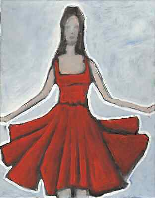 Original Expressionist Modern Painting abstract Girl In RED DRESS 11x14 Charveys