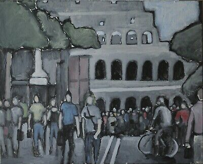 Original Expressionist Modern Painting PEDESTRIANS IN CITY STREET Rome Charveys