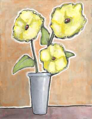 Original Expressionist Modern Painting Yellow FLOWERS Purple Cup 11x14 Charveys