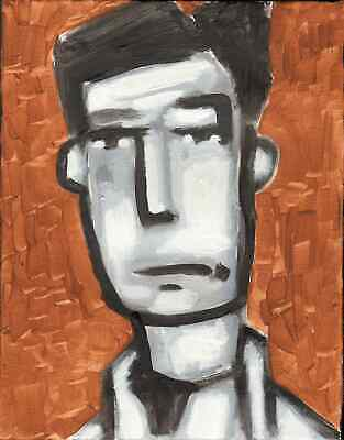 Original Expressionist MAN abstract PORTRAIT Modern Painting  11x14 Charveys
