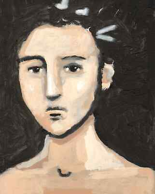 Original Expressionist Modern Painting YOUNG MAN BOY PORTRAIT 11x14 Charveys