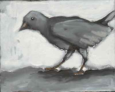 Original Expressionist Gray BIRD nature animal Modern Painting Charveys