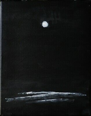 Original Expressionist Modern Painting  NIGHT WAVES surf moon beach Charveys