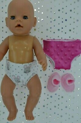 """Play n Wear Doll Clothes To Fit 17"""" Baby Born 2 REUSABLE NAPPIES~BOOTIES"""