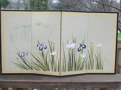 Antique Chinese Silk Screen - 4 Panel Hand Painted  Irises--Signed