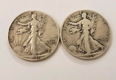 Lot of 2 Walking Liberty Half Dollars 90% Silver Coin Lot  (1916 - 1947) Lot-W2