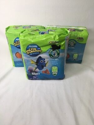 Lot Of 3 Huggies Finding Dory Nemo Little Swimmers Diapers Small 16-26Lb (#B48)