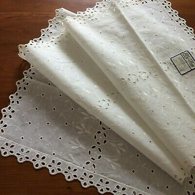 """UNUSED ivory eyelet table runner embroidered 49.5X14"""" SHAB FARM COT CHIC tag on"""