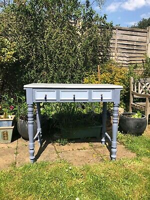 antique painted small console/desk with marble top-from Italy