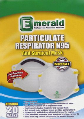 N95 Dust Particulate Disposable Respirator and Face Surgical Masks Box/20 NIOSH