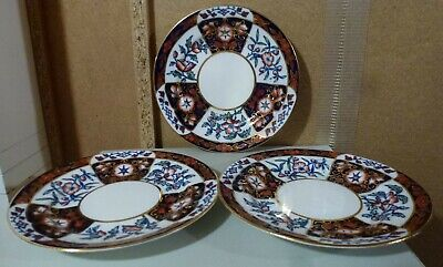 3 lovely small antique Victorian imari style plates copper rust  blue & gilding