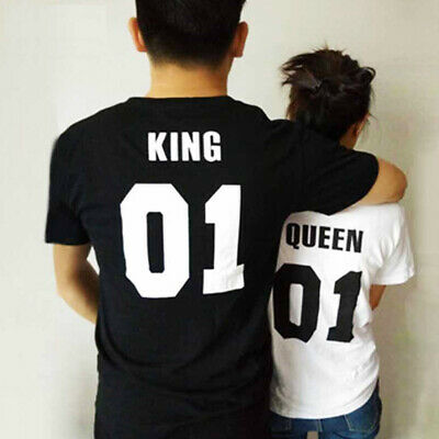 Hippop punk short sleeve O-neck couple t-shirt men KING black women QUEEN white