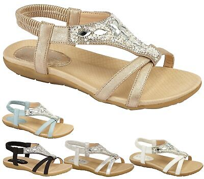 Ladies Flat Slingback Padded Footbed Summer Beach Holiday Diamante Sandals Shoes