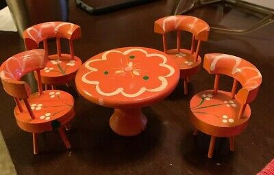 Vintage Doll House Wooden Furniture Taiwan Republic of China Table And Chairs