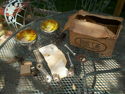 Vintage Pair Dietz 510 Fog Light Amber Lens Chrome Round w/ Brackets Box, Newish