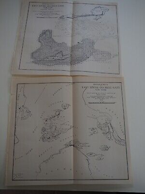 "Antique Map ""Improvement of East River and Hell Gate"" 1882, two Maps"