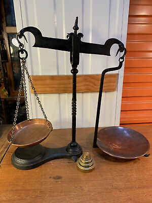 Antique English Avery Cast Iron Balance Shop Scales Copper Pans Brass Weights
