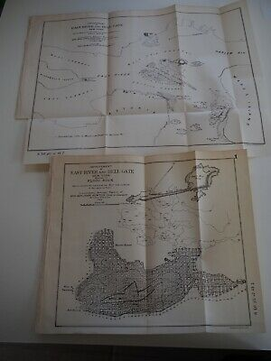 "Antique Map ""Improvement of East River and Hell Gate"" 1886, two Maps"