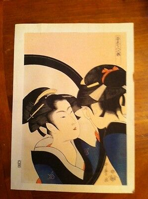 "Kitagawa Utamaro ""A Beautiful Woman Looking In a Mirror"" Woodblock Print Japan"