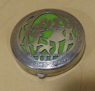 Vintage SilverTone German Silver Compact w/Cut Out Couple & Green Background