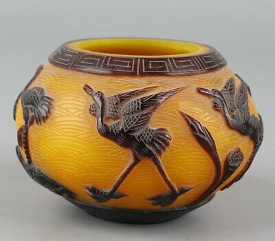 Chinese Exquisite Handmade lotus crane Carving Glass pot