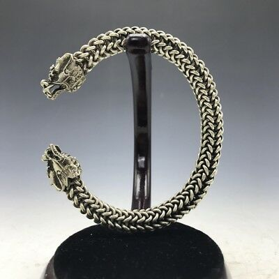 Old China's Miao silver Handmade twist-style creative Dragon Bracelet .a171